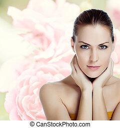 mulher bonita, saudável, jovem, pele, retrato