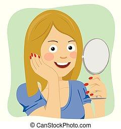 mulher bonita, saudável, jovem, rosto, olhar, espelho