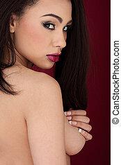 mulher bonita, sedutor, topless