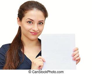 mulher bonita, segurando, negócio, isolado, papel, fundo, em branco, sorrizo, branca, vazio