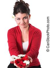 mulher bonita, segurar floresce