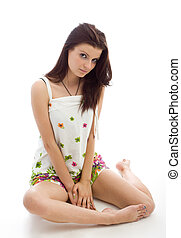 mulher bonita, sentando, jovem, fundo, branca, sundress