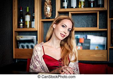 mulher bonita, sentando, loura, retrato, café