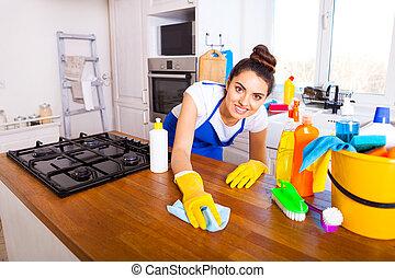 mulher bonita, set., house., jovem, kitchen., limpeza, menina, faz
