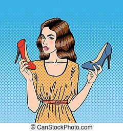 mulher bonita, shoes., sapatos, jovem, estouro, vetorial, ilustração, escolher, menina, art.