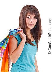 mulher bonita, shopping