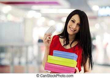 mulher bonita, shopping, crédito, centro comercial, cartão