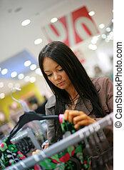 mulher bonita, shopping, jovem, loja