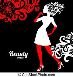 mulher bonita, silueta, com, flores