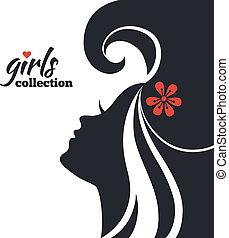 mulher bonita, silueta, com, flowers., meninas, cobrança