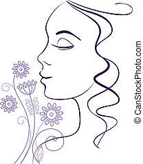 mulher bonita, silueta, com, um, flores
