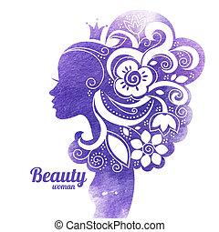 mulher bonita, silueta, ilustração, aquarela, flowers., vetorial