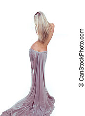mulher bonita, silueta, tecido, isolado, excitado, branca