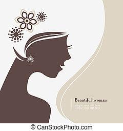mulher bonita, silueta