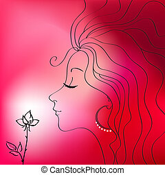 mulher bonita, silueta, vetorial