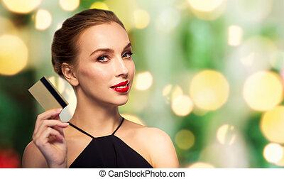 mulher bonita, sobre, crédito, pretas, cartão