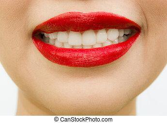 mulher bonita, sobre, jovem, isolado, fundo, branca, teeth.