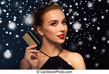 mulher bonita, sobre, neve, cartão crédito