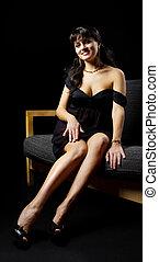 mulher bonita, sofá