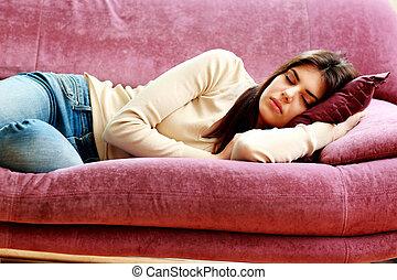 mulher bonita, sofá, jovem, dormir, lar