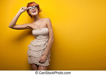mulher bonita, sorrindo