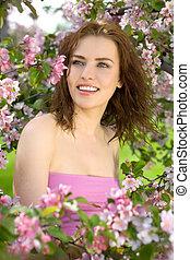 mulher bonita, sorrizo, flor, pomar