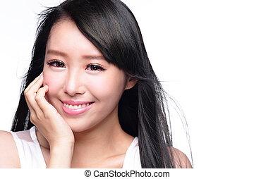 mulher bonita, sorrizo, rosto