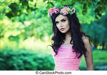 mulher bonita, spring., modelo, flores, agradável
