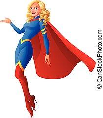 mulher bonita, superhero, illustration., voando, vetorial, loura, presenting., excitado