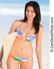 mulher bonita, surfboard, dela