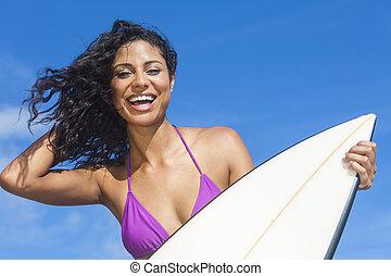 mulher bonita, surfboard, &, surfista, biquíni, menina,...