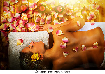 mulher bonita, tendo, massage.