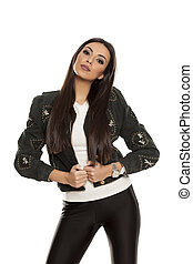mulher bonita, tights, jovem, casaco, pretas
