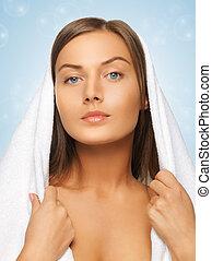 mulher bonita, toalha