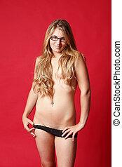 mulher bonita, topless