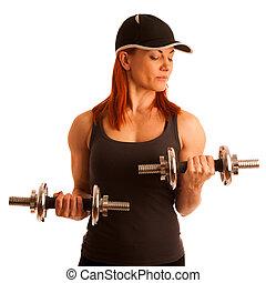 mulher bonita, trabalhando, ginásio, jovem, dumbels, condicão física, saída