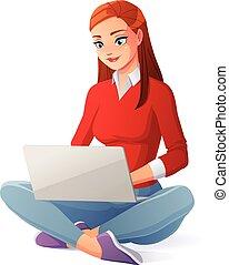 mulher bonita, trabalhando, sentando, laptop, jovem, floor., vetorial