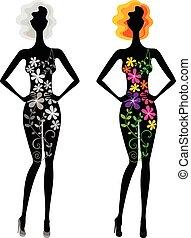 mulher bonita, variações, jovem, dois, flores, vestido