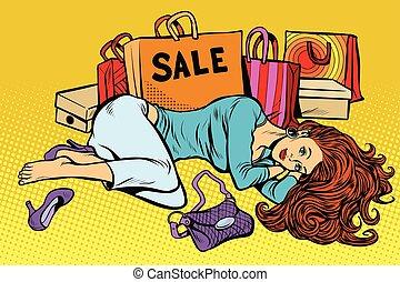 mulher bonita, venda, após
