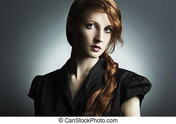 mulher bonita, vermelho-haired, foto, jovem, moda
