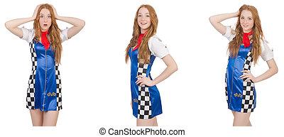 mulher bonita, vestido, checkered