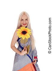 mulher bonita, vestido, indianas, girassol