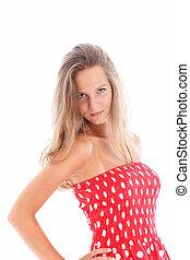 mulher bonita, vestido, jovem, vermelho
