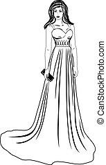 mulher bonita, vestido, longo