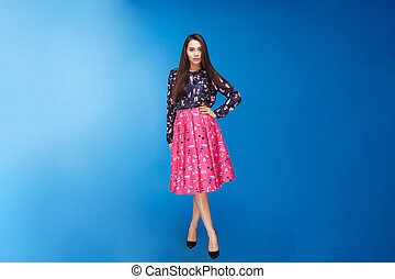 mulher bonita, vestido, moda