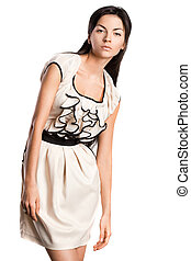 mulher bonita, vestido, na moda