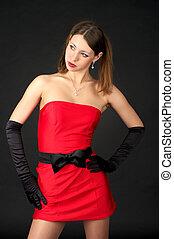 mulher bonita, vestido noite, vermelho