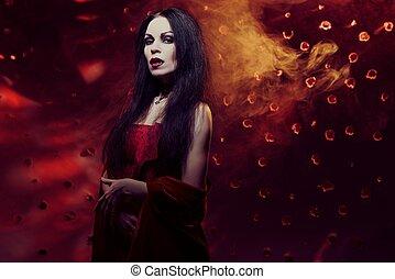 mulher bonita, vestido, vampiro, vermelho