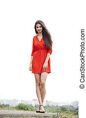 mulher bonita, vestido, vermelho