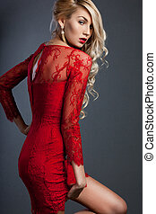 mulher bonita, vestido, vermelho, na moda